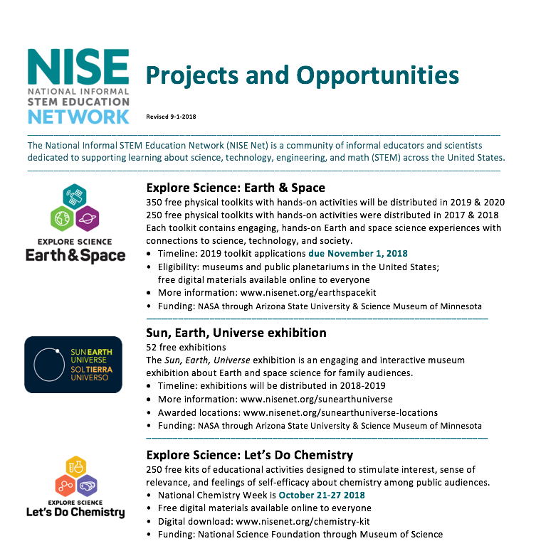 NISE Network Fact Sheets and Brochure for Partners | NISE Network