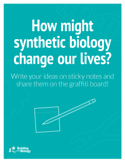 """How might synthetic biology change our lives?"" graffiti wall"