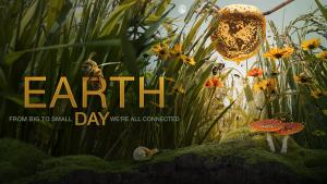 NASA Earth Day 2021 image with bumble bee in grass