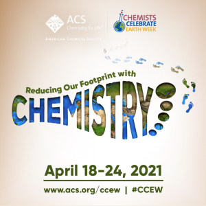 Chemists Celebrate Earth Week CCEW 2021 theme with footprint lillustration