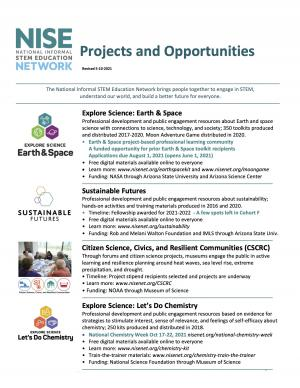 NISE Net projects and opportunities fact sheet flyer revised 5-11-21
