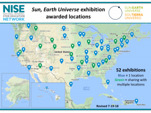 Sun Earth Universe exhibition awarded locations map