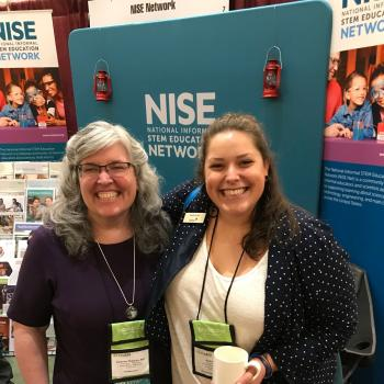 ACM 2019 NISE Net booth with Catherine and Sarah Grove