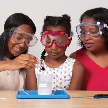 family doing a chemistry activity