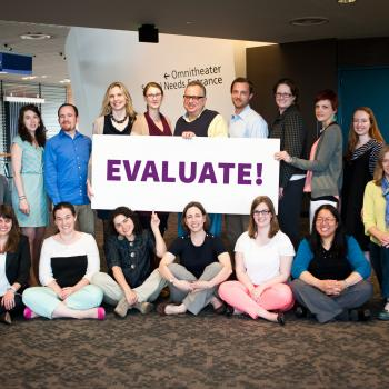 Group of evaluators and large EVALUATE sign
