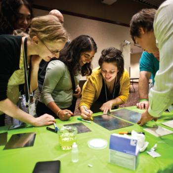 Educators looking at a nano activity