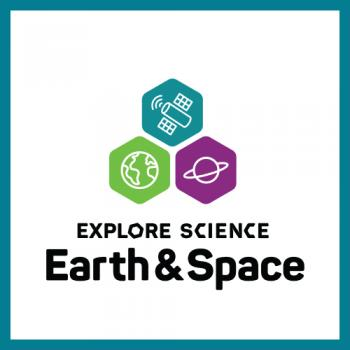 Earth and Space logo square with teal border