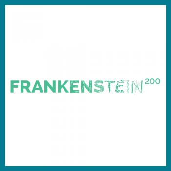 Frankenstein logo square with teal border