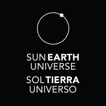 square version of the Sun, Earth, Universe logo black