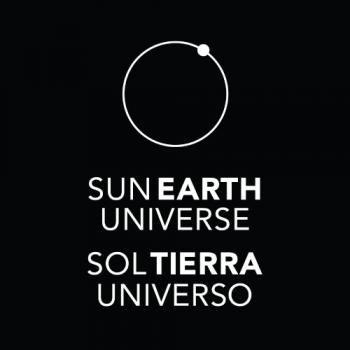 square version of the Sun, Earth, Universe logo black