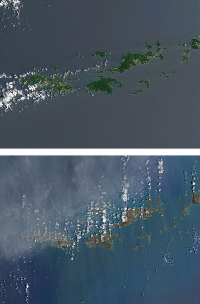 Virgin Islands before and after Hurricane Irma