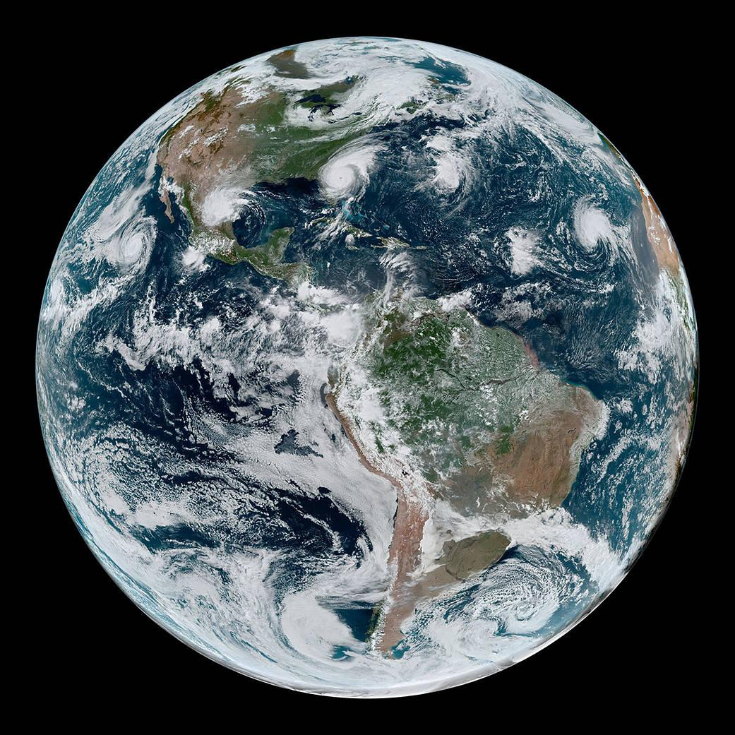 Earth westernhemisphere_geos_2019246_lrg-courtesy NASA credit NASA Earth Observatory Joshua Stevens NOAA National Environmental Satellite Data and Information Service Caption Kathryn Hansen
