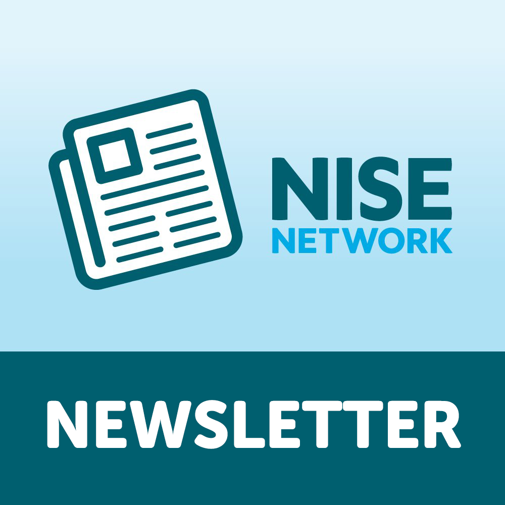 NISE Newsletter Logo with a newspaper icon on the left