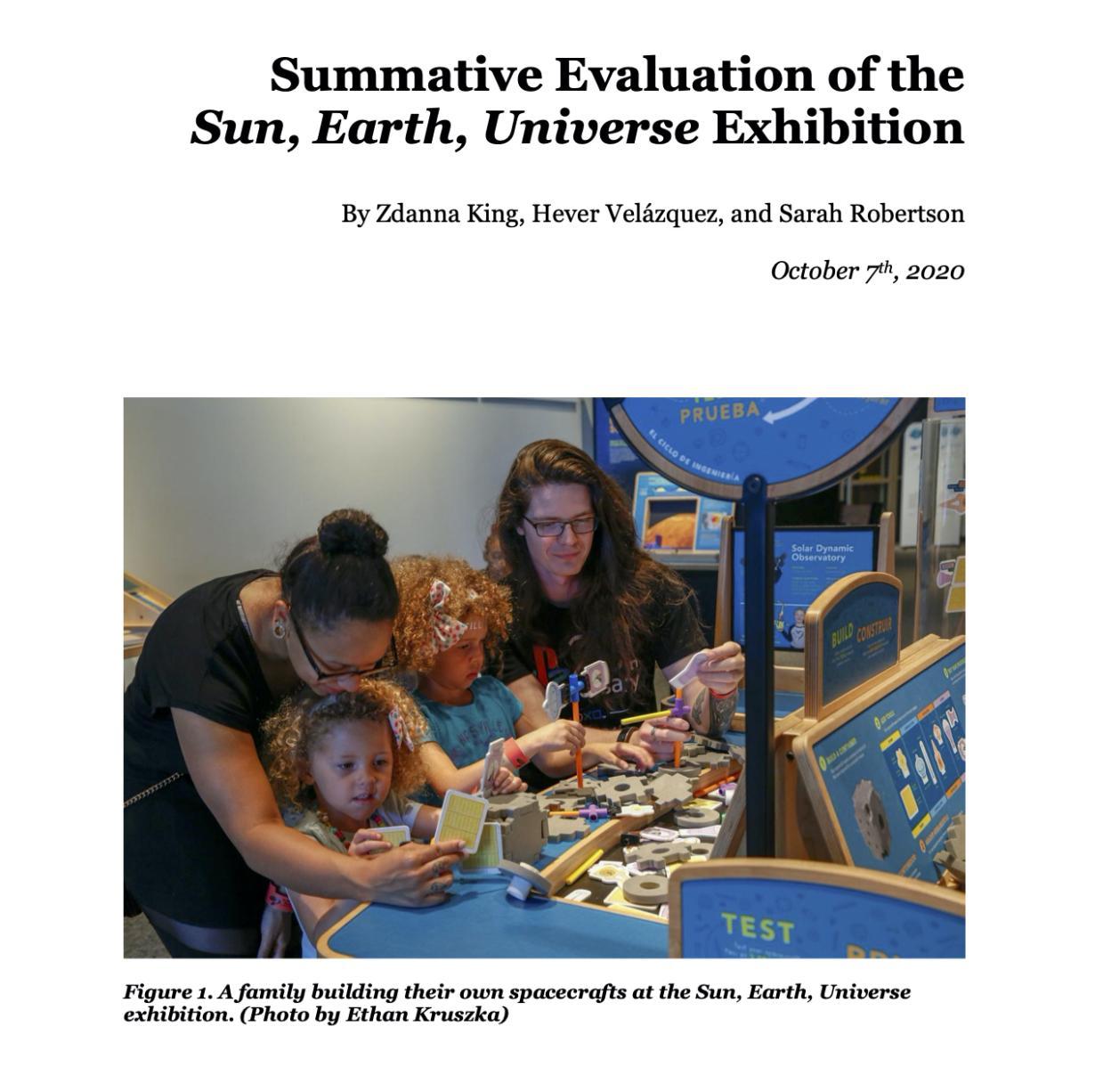 Summative Evaluation_Sun Earth Universe exhibition cover page
