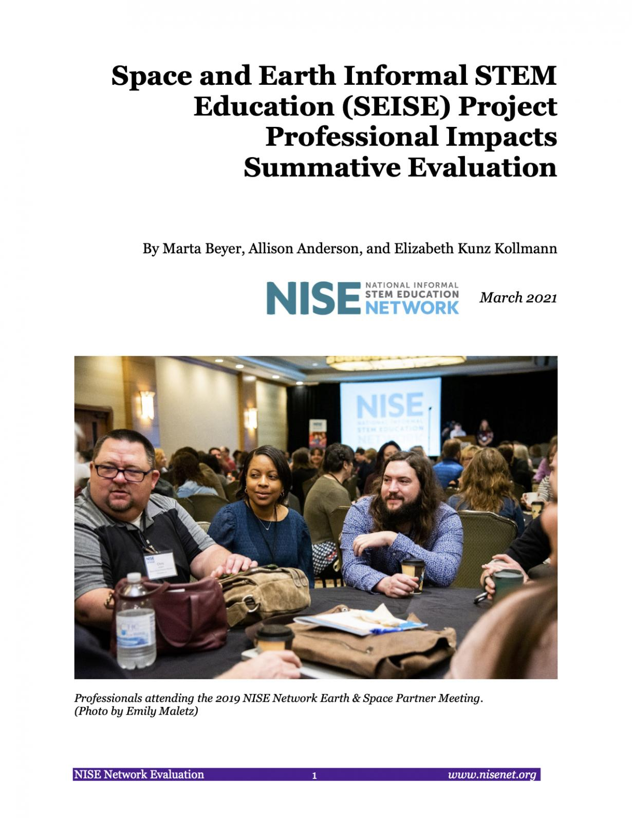NISE Network SEISE Project Evaluation  Professional Impacts Summative Evaluation cover