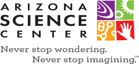 Arizona Science Center logo Never stop wondering never stop imagining