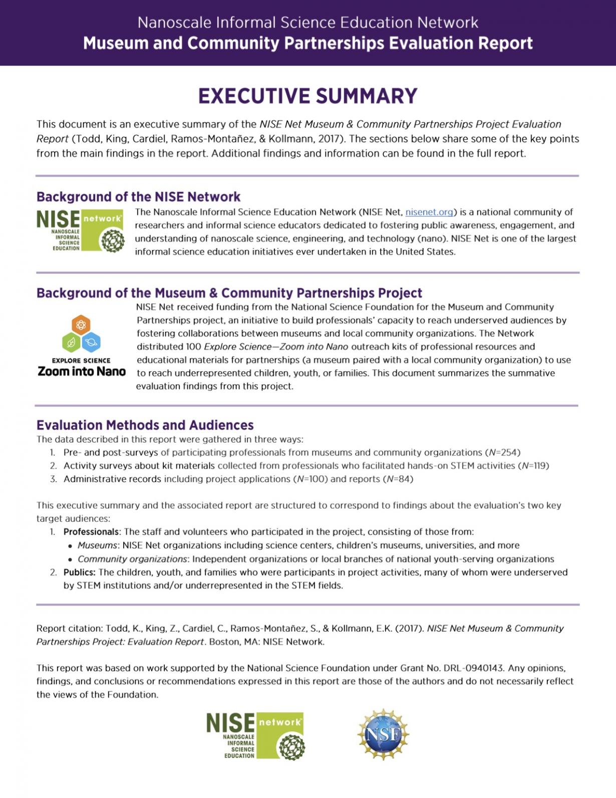 Museum & Community Partnerships Project executive summary page 1