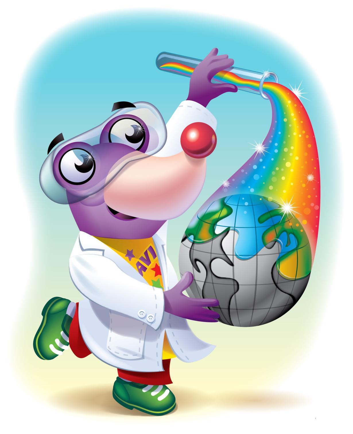 National Chemistry Week 2015 logo - avi mole with rainbow test-tube