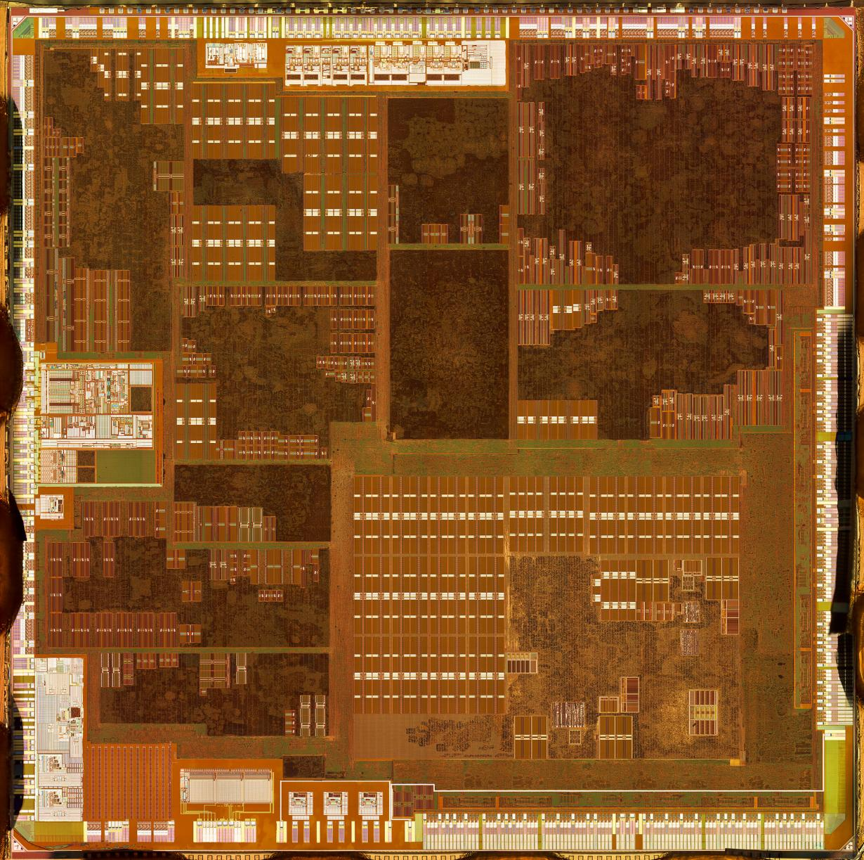 Microscopic composite image of an Apple A4 computer microprocessor.