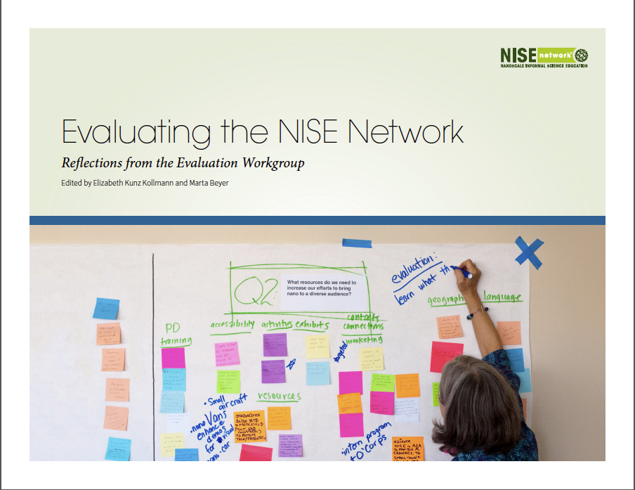 Evaluating the NISE Network cover image of post-it notes on a white wall.