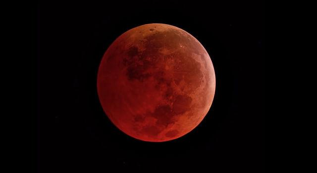 Red moon courtesy of JPL