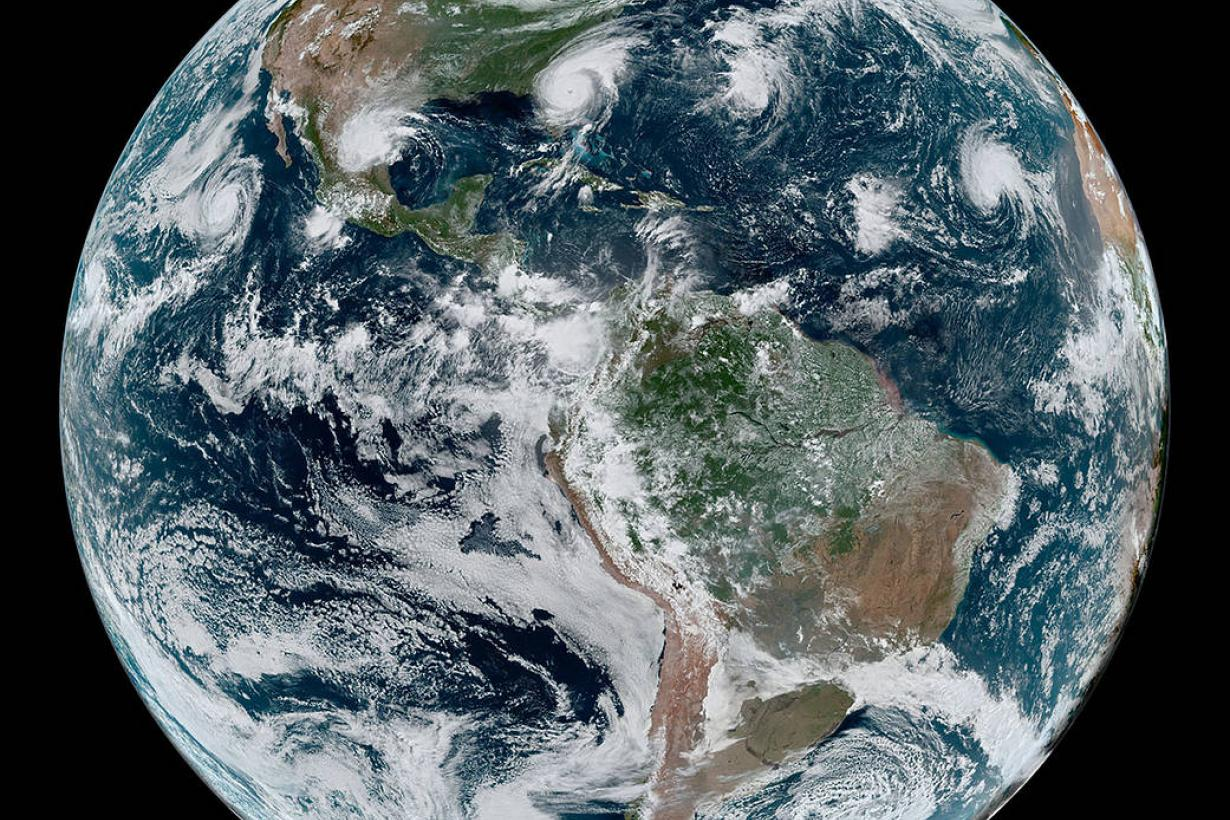 Earth westernhemisphere_geos_2019246_lrg-courtesy NASA credit NASA Earth Observatory Joshua Stevens NOAA National Environmental Satellite Data and Information Service Caption Kathryn Hansen