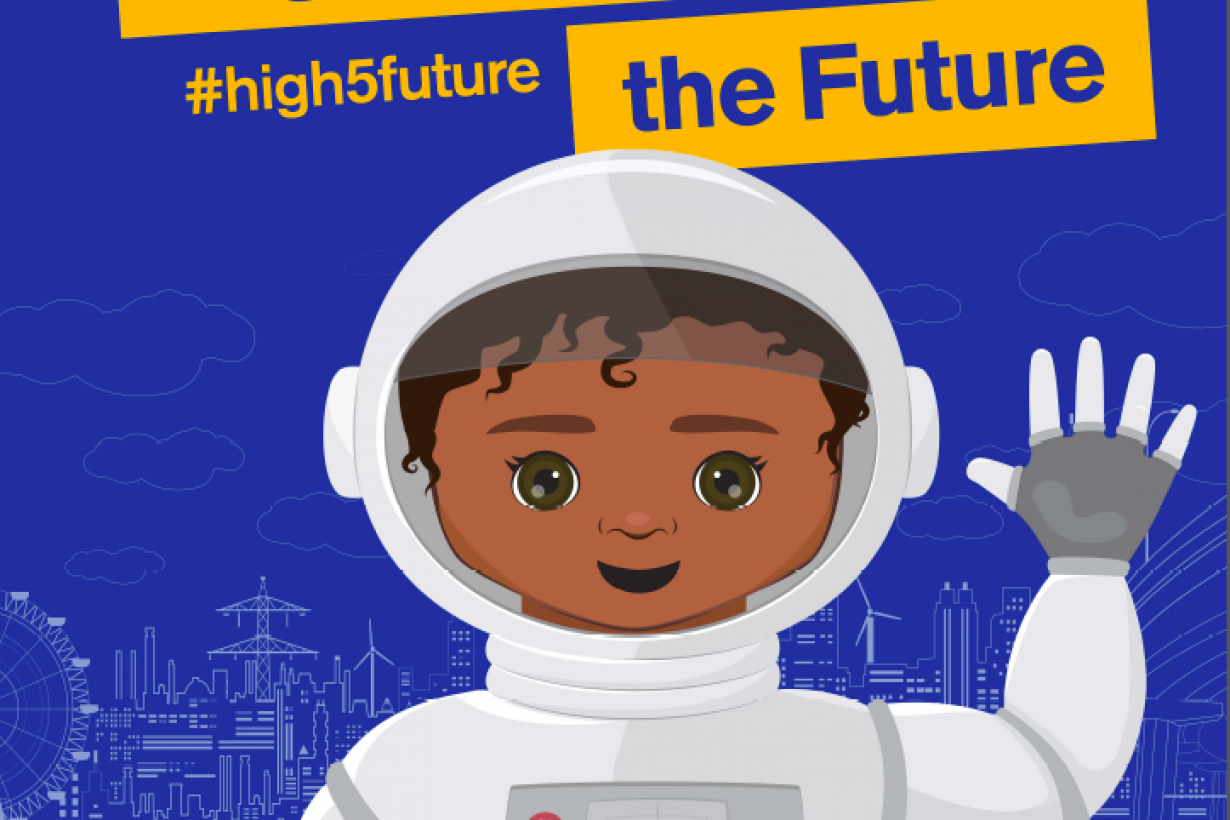 High five for the future banner sign