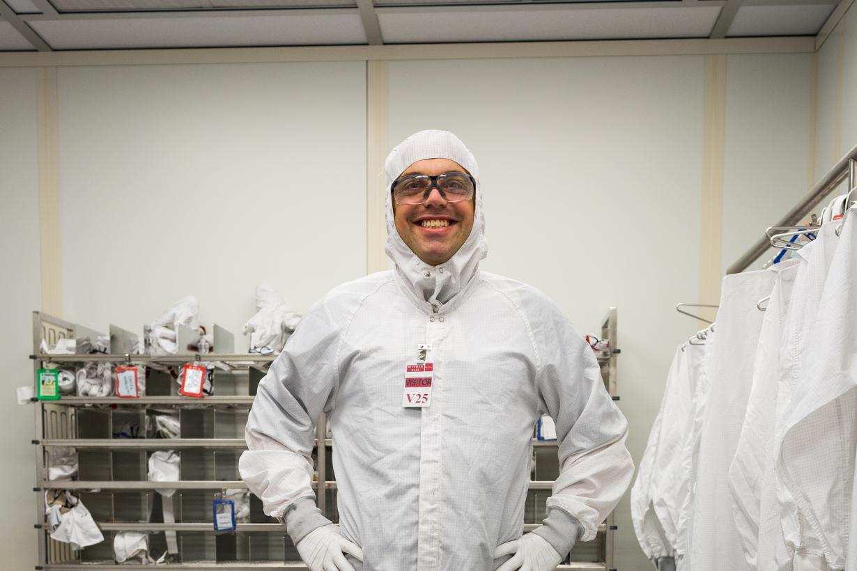 Person dressed in Clean Room bunny suit