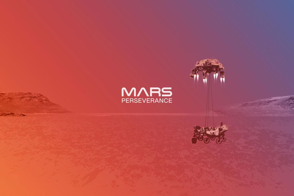 Mars Rover landing 2020 artist illustration