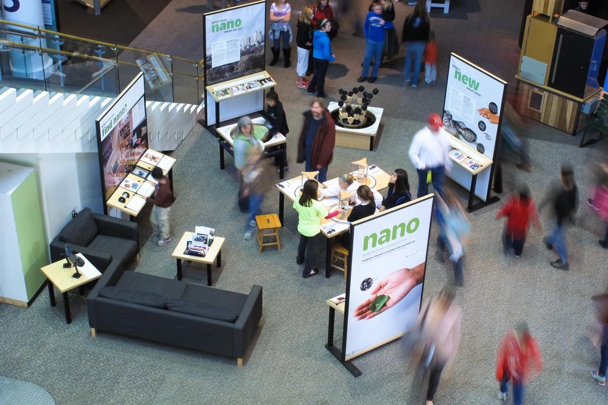 Birdseye view of Nano exhibition with visitors.