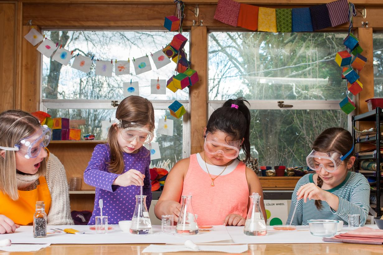 Childrens using Nature of Dye chemistry activity with tools and glassware