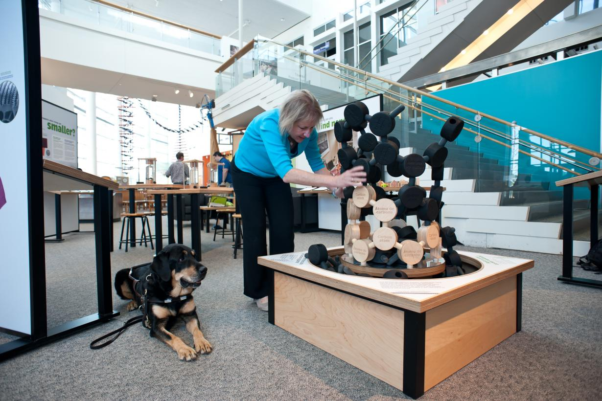 Blind visitor with guide dog using carbon nanotube exhibit in Nano exhibition
