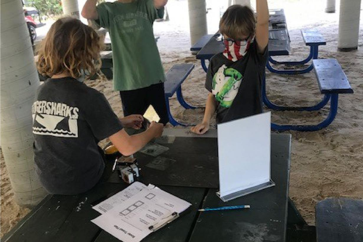 young learners using a component of the Moon Adventure Game
