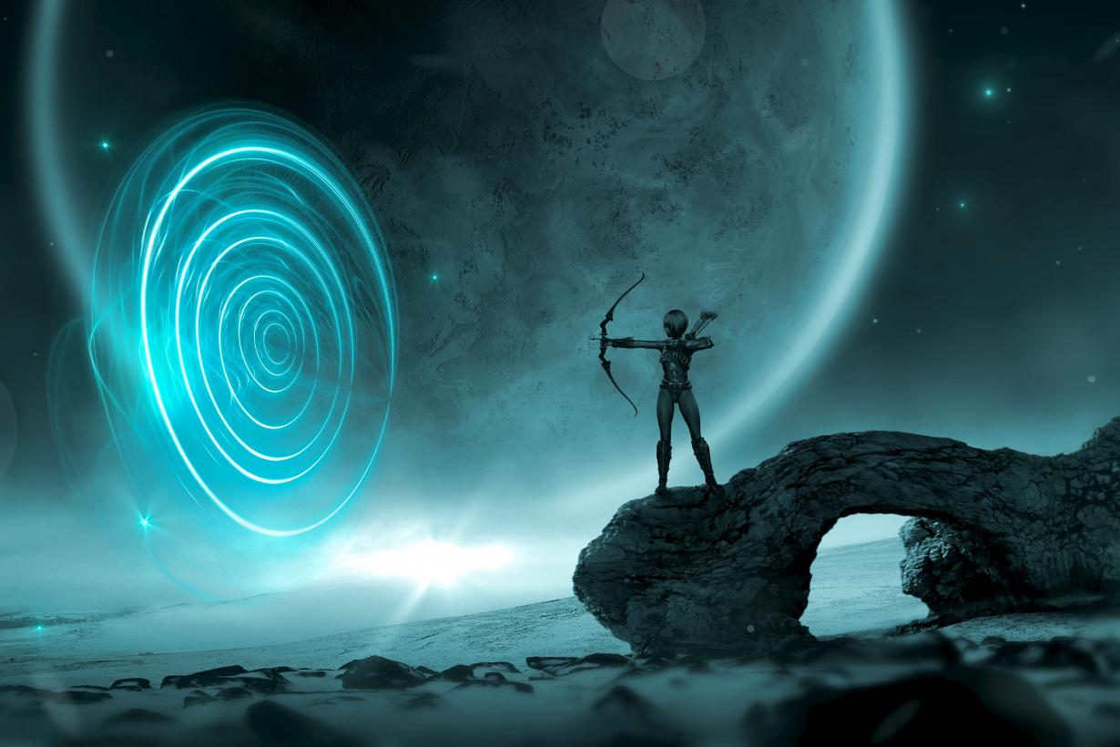 Science fiction art featuring archer figure on a rock shooting an arrow into space
