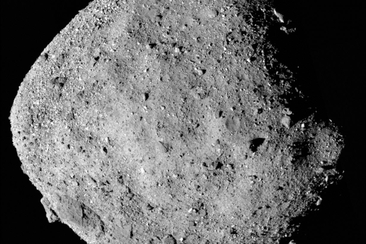 Asteroid Bennu mosaic image taken by OSIRIS-REx spacecraft in 2018 Image Credit to NASA, Goddard, and University of Arizona
