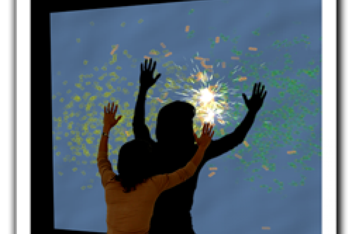 Mixing Molecules full body immersive exhibit with person in front of large screen