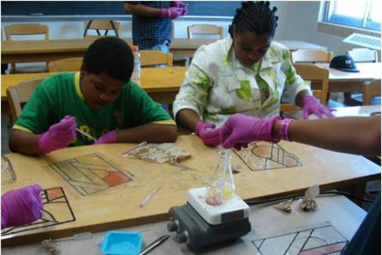 Students work on making their own version of stained glass