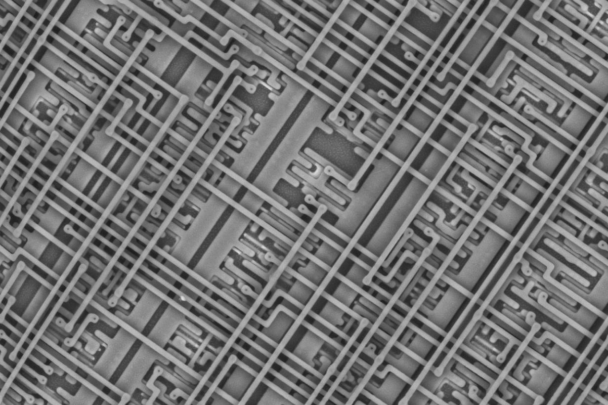 Close up magnified image of a microchip
