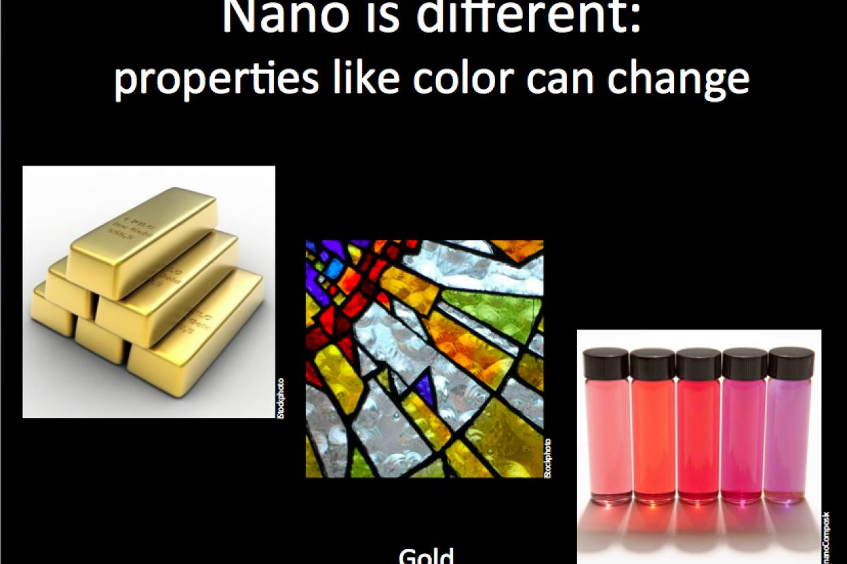 Nano is different slide showing gold, nano gold, and stained glass