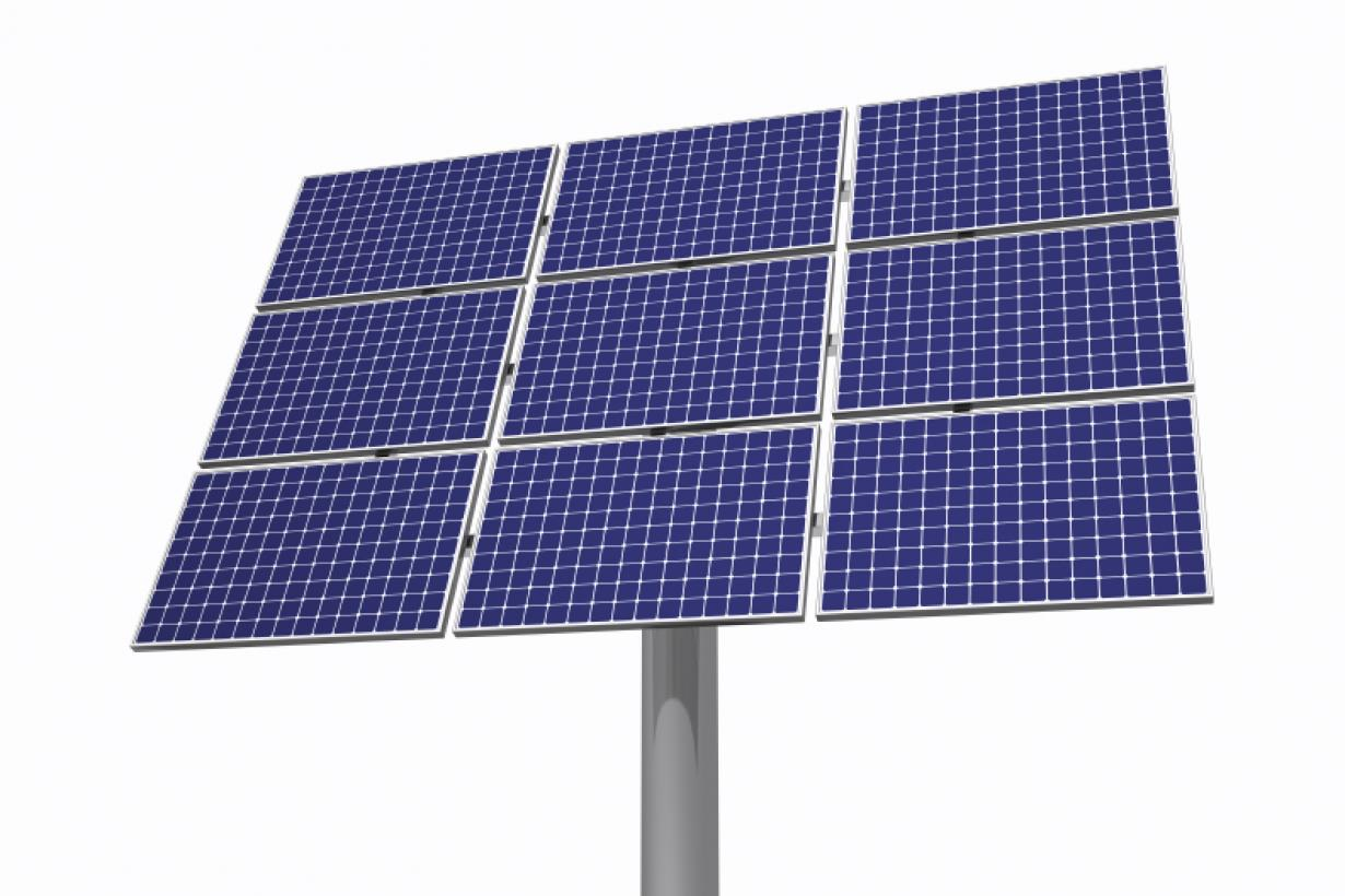 A solar panel on a grey stand.