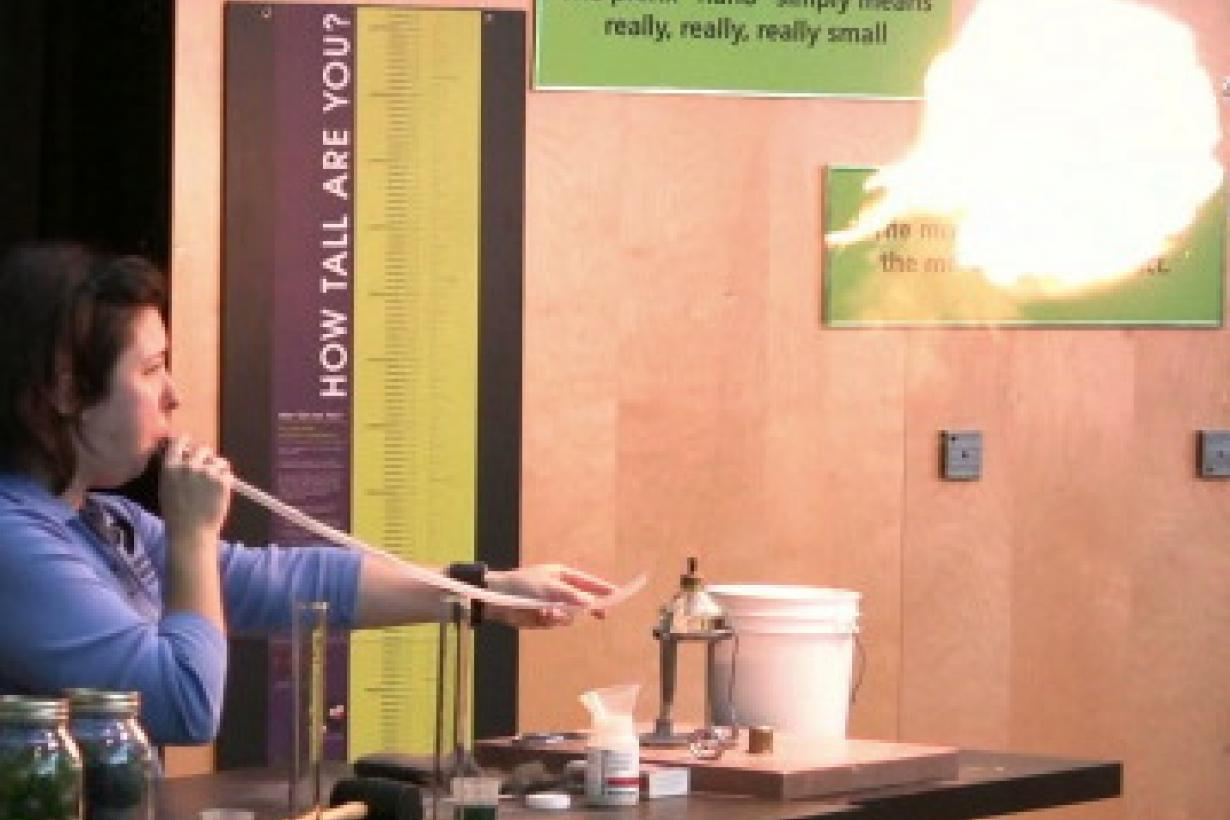 Surface area nanoscale science demonstration blowing fireball