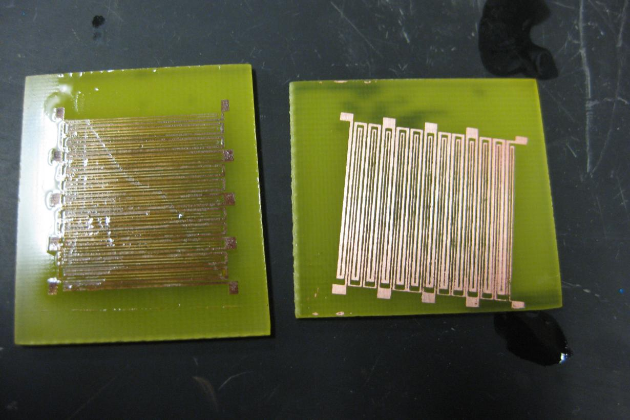 A circuit etched on a board using photolithography.