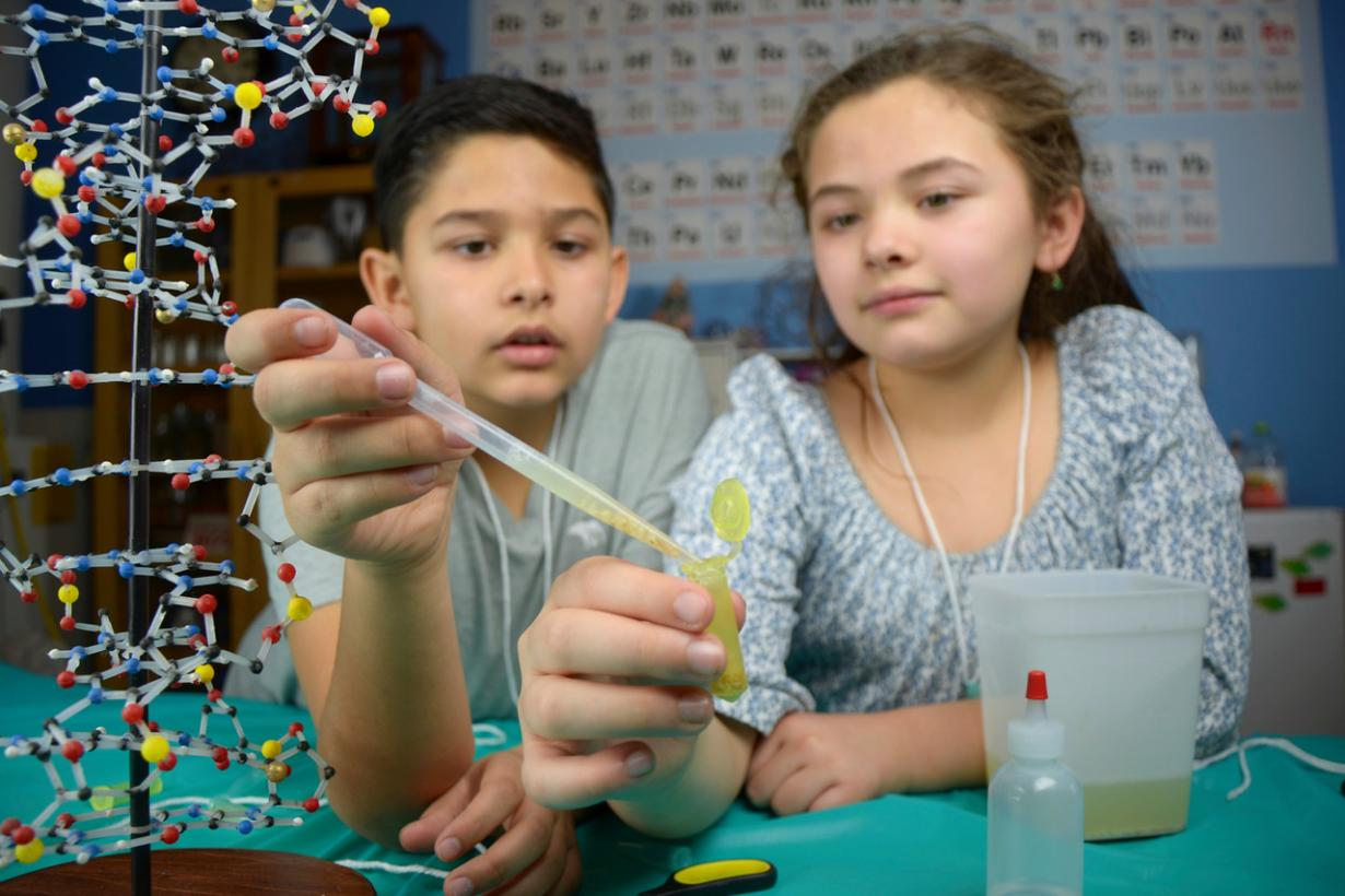 Two children extracting visible DNA from wheat germ in Building with Biology kit