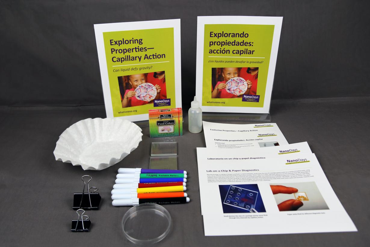 Exploring Properties - Capillary Action activity components including signs, activity materials and guides.