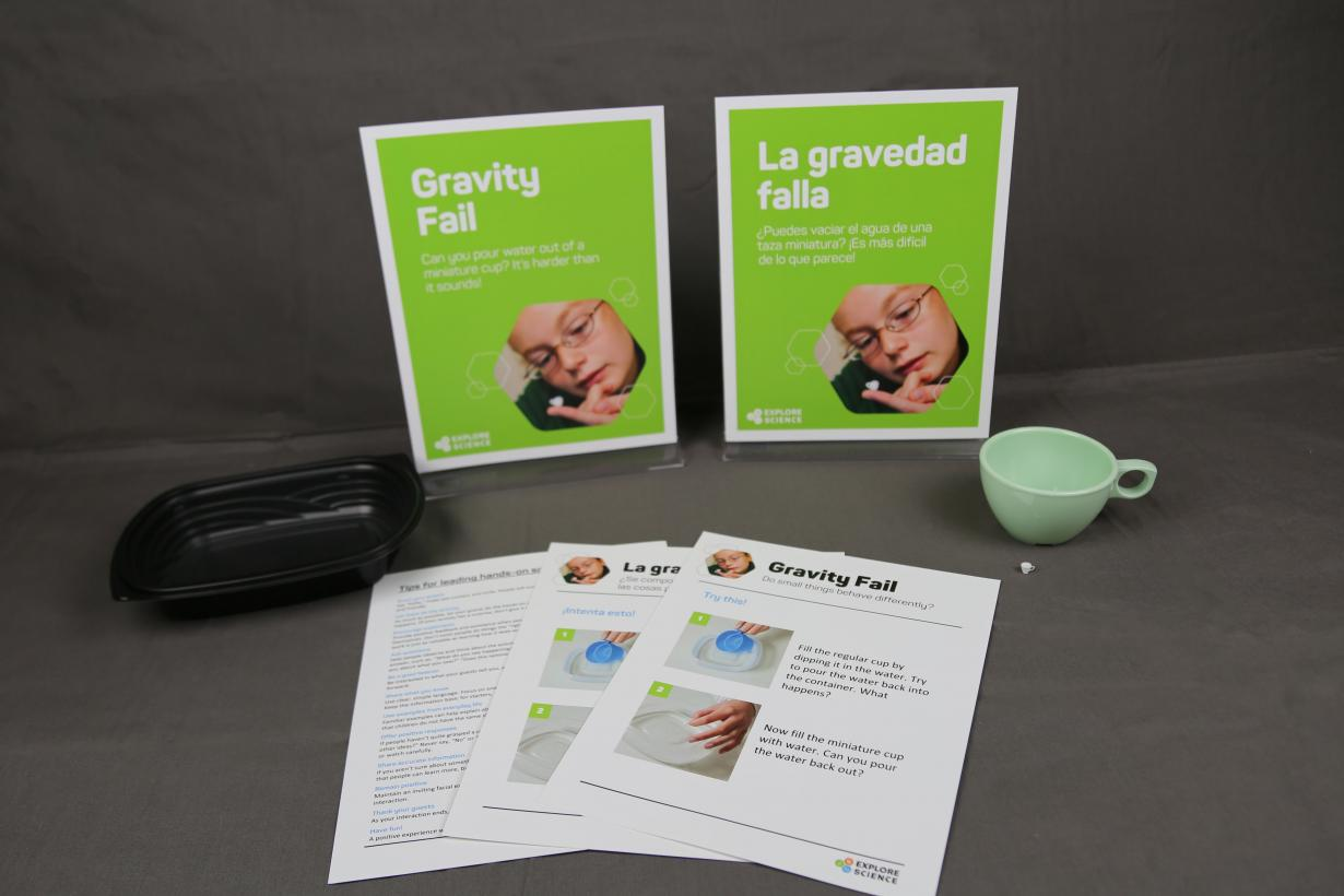Materials in the Zoom into Nano Gravity fail kit including full-size and dollhouse sized teacups
