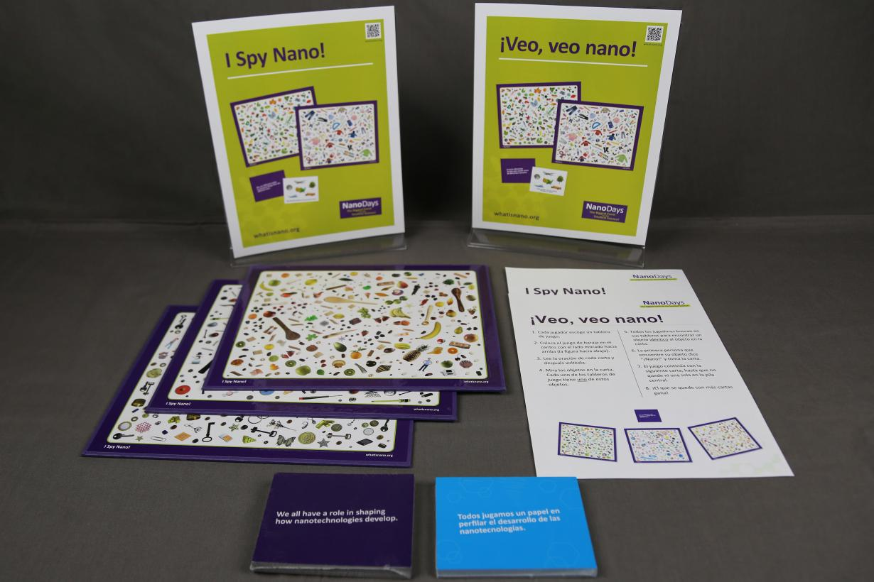 I Spy Nano! NanoDays activity components including game boards and cards
