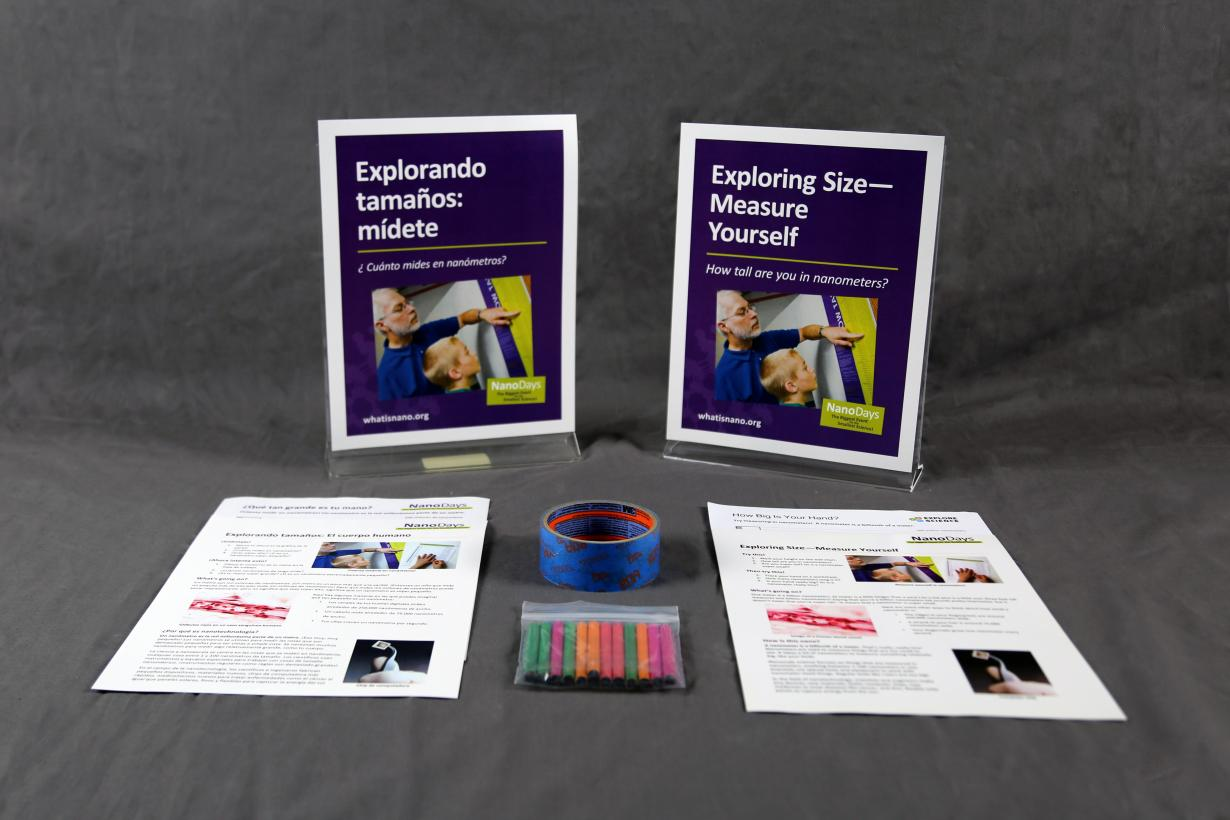 Measure yourself activity components including signs, activity materials and guides.