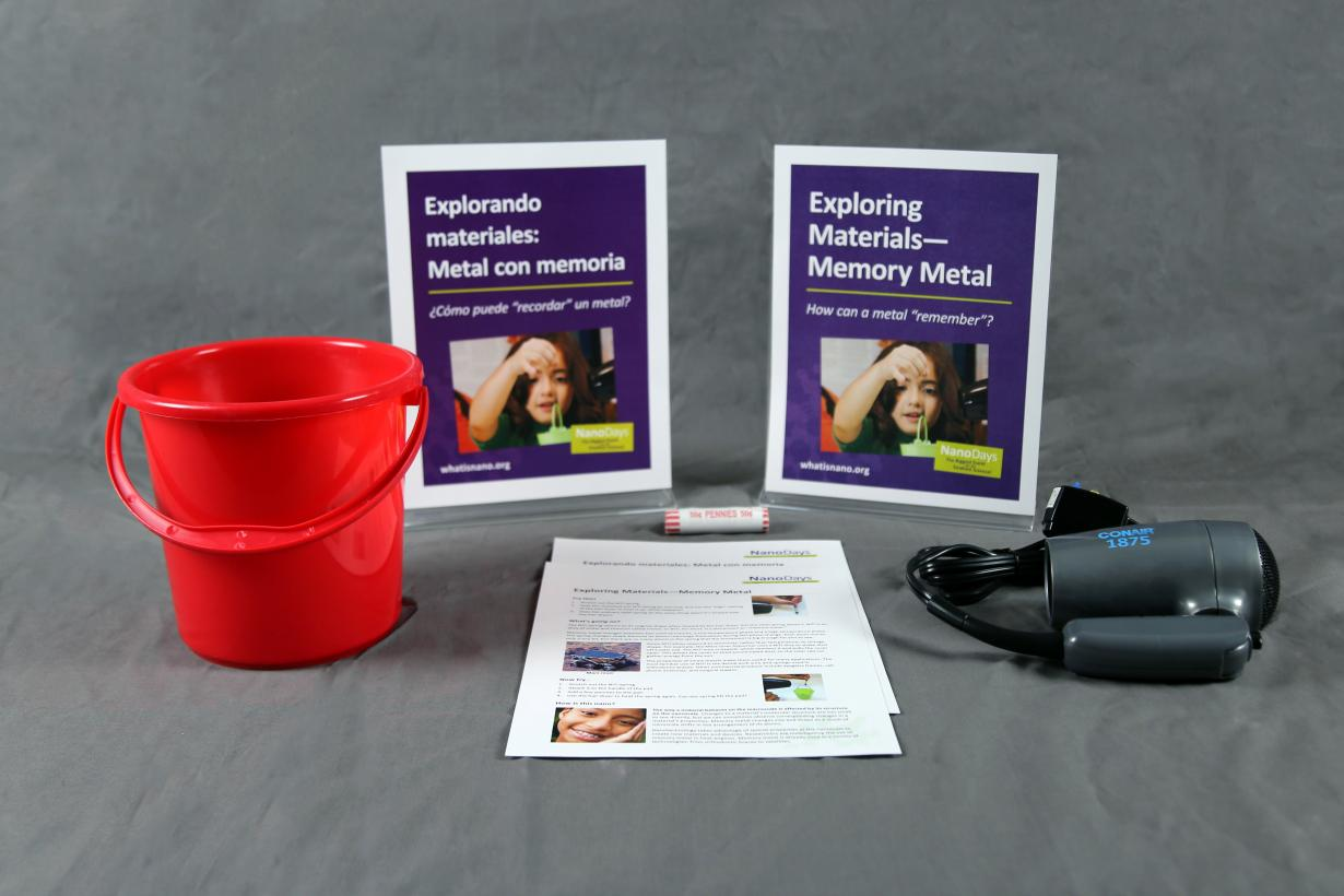 Memory Metal activity components including signs, guides, hair dryer, memory metal, and bucket.