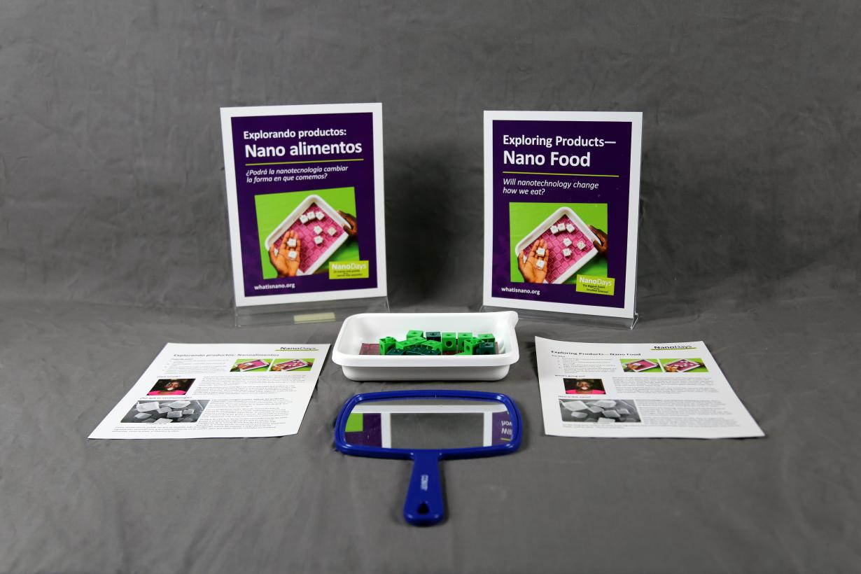 NanoDays Nano Food activity components including sign, guides, and activity materials.