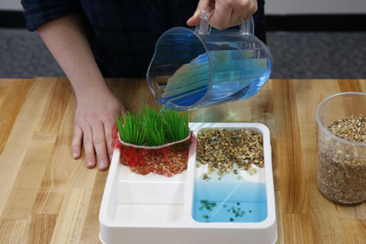 Exploring Earth: Land Cover activity showing person pouring water on soil and sand